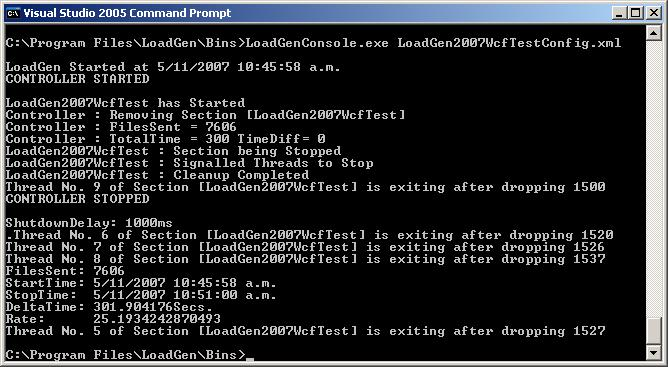 LoadGen 2007 WCF Test - Command Prompt Output